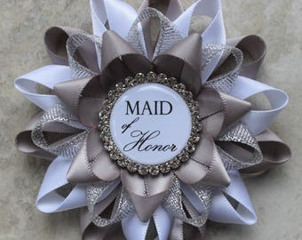 Silver Bridal Shower Decorations, Gift for Mother of Groom, Gift for Mother of Bride, Bridal Shower Pins, Gray, White, Silver