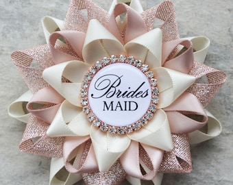 Rose Gold Bridal Shower Pins, Bridesmaid Gift, Bachelorette Party Favors, Rose Gold Wedding Shower Corsages, Ivory, Rose Gold, Nude