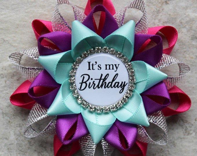 Its My Birthday Pin, Birthday Gifts for Her, Birthday Gift Ideas, Birthday Pin Gift for Women, Coworker, Fuchsia, Silver, Violet, Aqua
