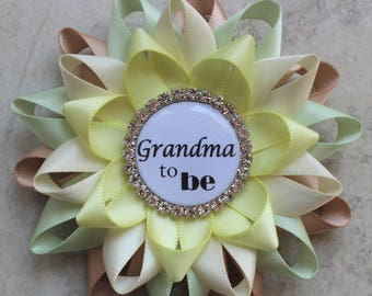 Safari Baby Shower Decorations, Pastel Safari Baby Shower Pins, Grandma to be, Daddy to be, Champagne, Seafoam Green, Ivory, Pale Yellow
