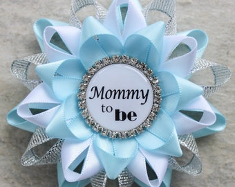 Blue Baby Shower Decorations, Light Blue Baby Shower Pins, Baby Shower Corsages, Mommy to be Pin, Grandma, Mimi, Light Blue, Silver, White