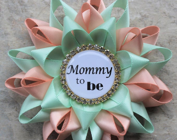 Mint and Peach Baby Shower Pins, Peach and Mint Baby Shower Decorations, Gift for New Mom, Keepsake Gift, Peachy Pink, Mint