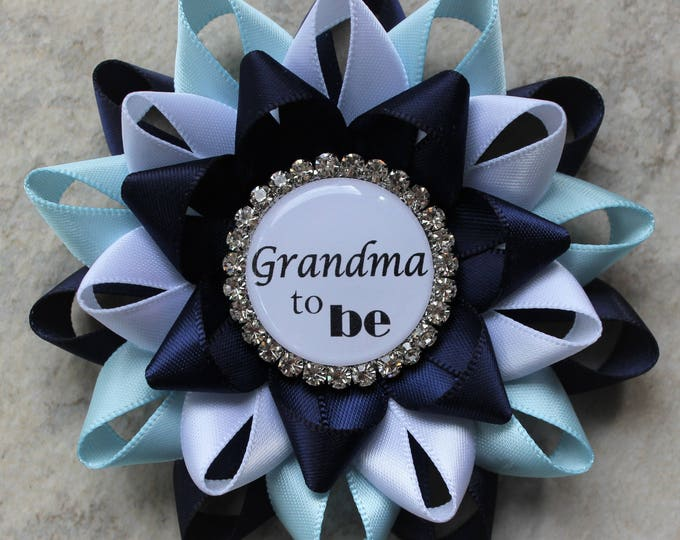 Boy Baby Shower Decorations, Blue Baby Shower Pins, Grandma to be Gift, New Grandma Gift, Mommy, Nana to be, Navy Blue, Light Blue, White