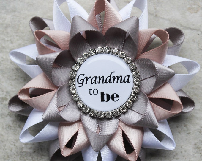 Gender Neutral Baby Shower Decorations, Gender Reveal Party, Personalized Baby Shower Pins, Grandma to be, Oma, Papa, Gray, White, Nude