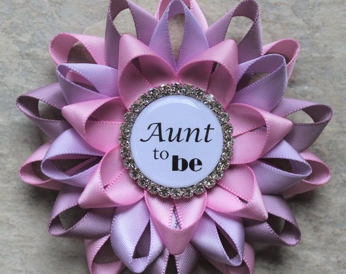 Pink and Purple Baby Shower Decorations, Baby Shower Pins, Gift for New Aunt, Gift for Baby Shower Guest, Bubblegum, Thistle, Orchid