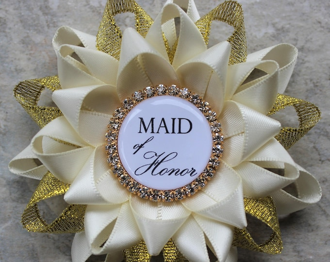 Maid of Honor Gift, Maid of Honor Proposal Gift, Bridal Shower Decorations, Bridal Shower Pins, Bachelorette Party Pins, Ivory, Gold