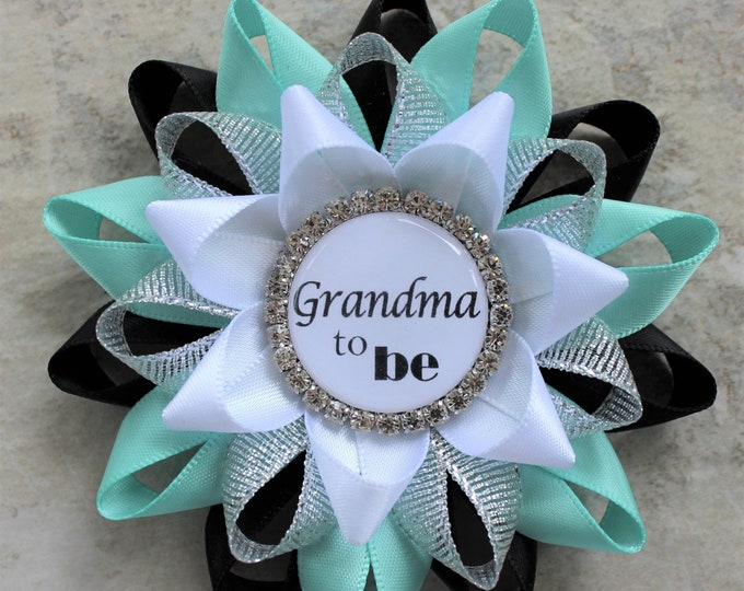Aqua Baby Shower Decorations, Boy Baby Shower, Personalized Pins for Baby Shower Gifts, Grandma to Be Pin in Black, Aqua, Silver and White
