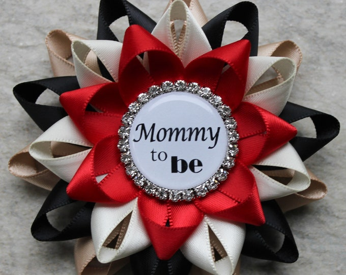Lumberjack Baby Shower Pins, Red and Black Lumberjack Theme Baby Shower Decorations, Mommy to Be Corsage, New Mommy, Tan, Black, Ivory, Red