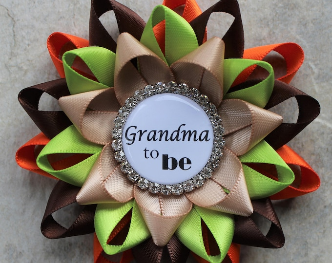 Woodland Themed Baby Shower Decorations Grandma to be Pin, Baby Shower Corsage Pins in Orange, Brown, Apple Green, Tan