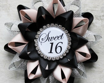 Sweet 16 Birthday Party Pin, Custom Colors and Personalized, 16th Birthday Party Decorations, shown in Black, Silver, Nude