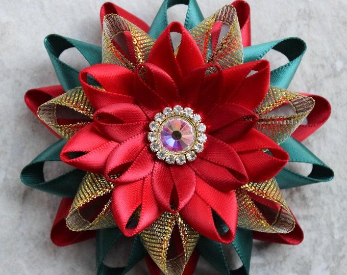 Christmas Pin, Christmas Flowers, Flower Pin, Red and Green Christmas Brooch Pin, Gift for Church Pianist, Scarlet, Hunter, Gold, Red