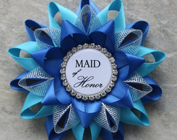 Bachelorette Party Decorations, Bachelorette Party Pins, Maid of Honor, Bridesmaid Gift, Friend of Honor, Royal Blue, Turquoise, Silver
