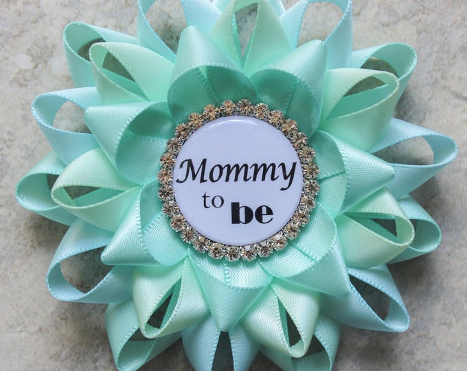 Aqua Baby Shower Decorations Mommy to Be Pin, Grandma to Be Pin, New Aunt to Be Pin, Nana to Be, Baby Shower Corsage, Aqua, Aqua Blue, Mint