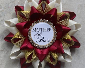 bridal shower decorations bridal shower corsage pins bridal shower gift for mother of the bride mother of the groom wine ivory gold