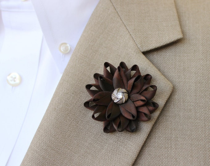 Mens Lapel Flower, Mens Flower Lapel Pin, Dark Brown Boutonniere, Gifts for Men, Lapel Flower for Men, Mens Lapel Pin, Brown Lapel Flower