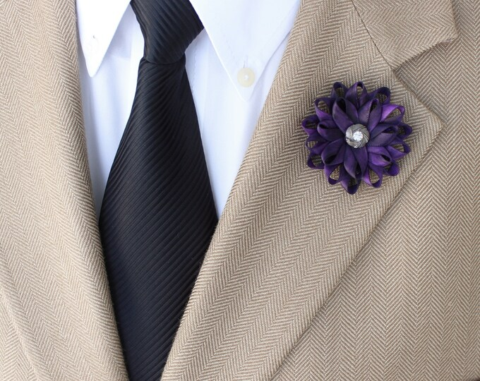 Lapel Flower for Men, Mens Lapel Flower, Purple Lapel Flower, Purple Flower Pin for Men, Purple Boutonniere, Gift for Him, Mens Fashion