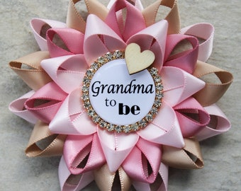 Rustic Pink Baby Shower Decorations, Rustic Baby Shower Pins, New Grandma Gift, Grandma to be, Pale Pink, Champagne, Quartz with Gold