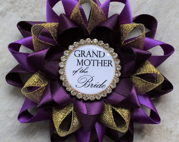 Purple Bridal Shower Decorations, Bridal Shower Pins, Mother of the Bride, Grandmother, Bachelorette Party Pin, Deep Purple, Purple, Gold
