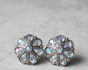 Iridescent AB Crystal Bridesmaid Earrings Gift with Hypoallergenic Posts or Clip-on Backings