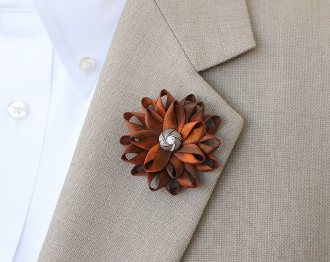 Orange Lapel Flower for Men, Hand Dyed Orange Boutonniere, Mens Lapel Flower, Gifts for Men, Lapel Flower Pin, Gift for Dad, Mens Fashion