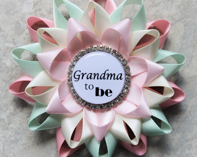 Grandma to be Pin, Mommy to be Pin, Daddy to be Pin, Personalized Pins, Gender Neutral Baby Shower Decorations, Pink, Mint, Ivory, Pale Pink
