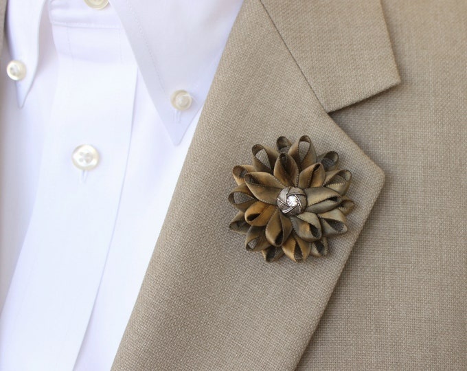 Mens Lapel Flower, Mens Flower Lapel Pin, Dark Gold Boutonniere, Gifts for Men, Lapel Flower for Men, Men's Lapel Pin, Gold Lapel Flower Pin