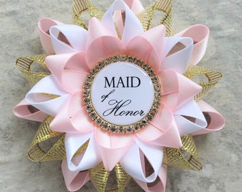 Maid of Honor Proposal Gift, Bridesmaid Gift Ideas, Bridal Shower Decorations, Engagement Party Corsage Pin, Pale Pink, Gold, White
