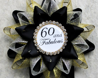 60th Birthday Gift, 60th Birthday Gifts for Women, 60th Birthday Gift for Mom, Sixtieth Birthday Pin, Black, Gold, Silver