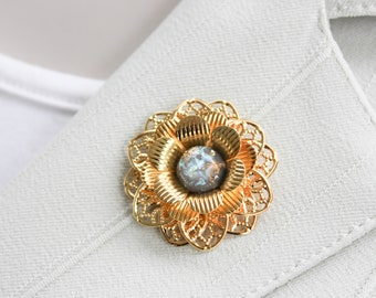Gold Flower Brooch Pin, Magnetic Brooch Pin, Magnetic Lapel Pin for Women, Gold Brooch, Gold Flower Pin, Sweater Pin, Hat Pin for Women