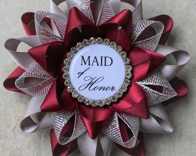 Maid of Honor Gift, Bridal Shower Decorations, Bachelorette Party Pins, Mother of the Bride Gift, Bridal Shower Pins, Wine, Gray, Silver