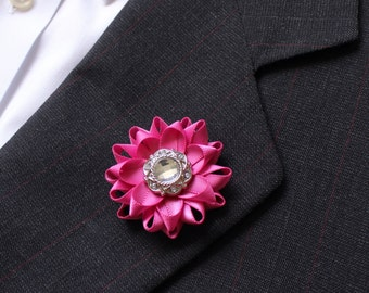 Mens Gift, Pink Lapel Flower for Men, Mens Suit Accessories, Mens Fashion, Gifts for Him, Gifts for Men, Boutonniere, Buttonhole Flower