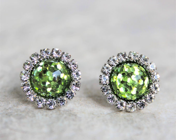 Lime Green Earrings Gift, Earrings Studs, Gift for Her, Lime Green Wedding Jewelry, Apple Green Bridesmaid Earrings with Gift Box