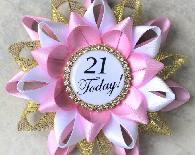 21st Birthday Pin, 21st Birthday Party Decorations, Gift for Her, 21st Birthday Party Ideas, Twenty First Birthday, Bubblegum, Gold, White