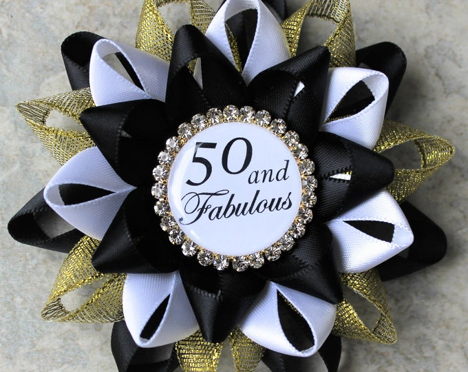 50th Birthday Pin, 50 and Fabulous Pin, 50th Birthday Party Decorations, Fiftieth Birthday Gift for Women, Black, Gold, White