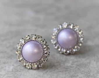 Lavender Earrings, Lavender Pearl Earrings, Lavender Bridesmaid Earrings, Lavender Wedding Jewelry, Orchid, Pale Purple, Light Purple