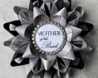 Mother of the Bride Pin, Mother of the Bride Corsage, Personalized Bridal Shower Pins, Mother of the Groom, Bridesmaid, Gray, Black, Silver
