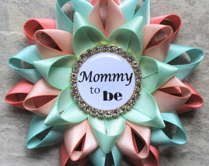 Gender Neutral Baby Shower Corsages, Gender Reveal Ideas, Baby Shower Decorations, Mommy to Be Pin, New Mom, Coral, Aqua, Peachy Pink, Mint