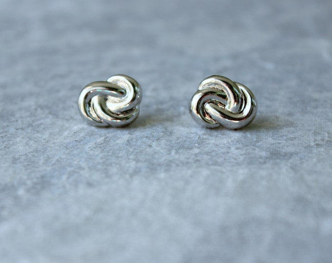 Silver Love Knot Earrings, Love Knot Jewelry, Wedding Jewelry, Bridesmaid Earrings, Inexpensive Earrings, Inexpensive Jewelry, Costume