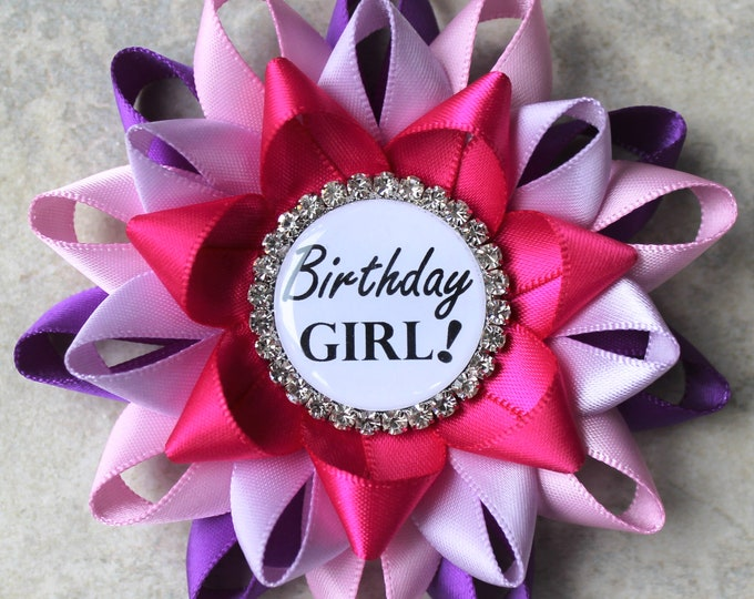 Birthday Girl Pin, Birthday Pin, Birthday Party Decorations, Birthday Gifts for Her, Keepsake Gift, Purple, Bubblegum, Orchid, Fuchsia