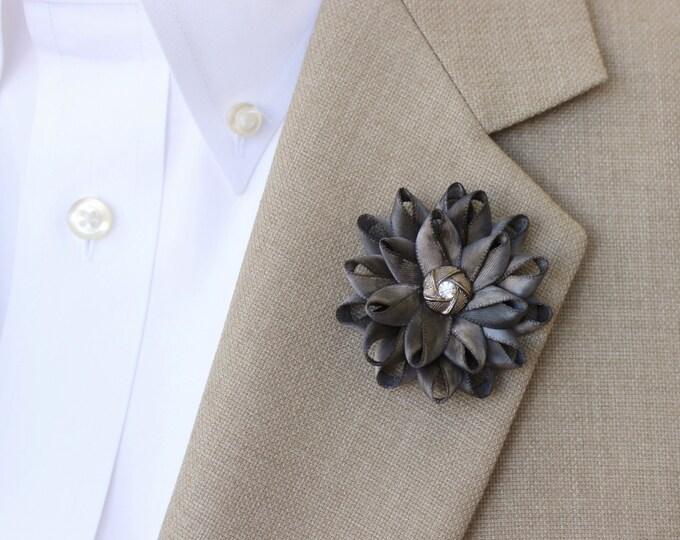 Mens Flower Lapel Pin, Gray Lapel Flower for Men, Mens Lapel Flower, Dark Gray Boutonniere, Gifts for Men, Men's Lapel Pin, Lapel Flower Pin