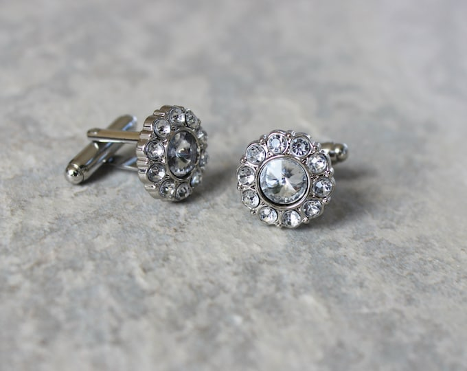 Cufflinks, Crystal Cuff Links, Wedding Cufflinks, Cuff Links for Groom, Father of the Bride, Groomsmen Gift, Father of the Groom Gift