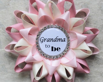 Grandma to Be Pin, New Grandma Gift, Nana to Be, Baby Shower Corsage, Abuelita, Abuela, Nonna, Mimi, Mommy to Be, Pale Pink, Quartz, Ivory