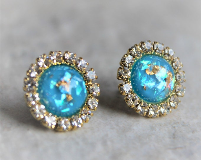 Turquoise Blue Earrings, Gifts for Women, Gifts for Her, Gold and Turquoise Earrings with Gift Box, Stud Earrings Gift, Gift for Coworker