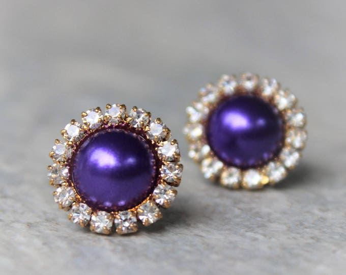 Purple Pearl Earrings, Purple and Gold Wedding Ideas, Pearl Earring Bridesmaid Gift Ideas