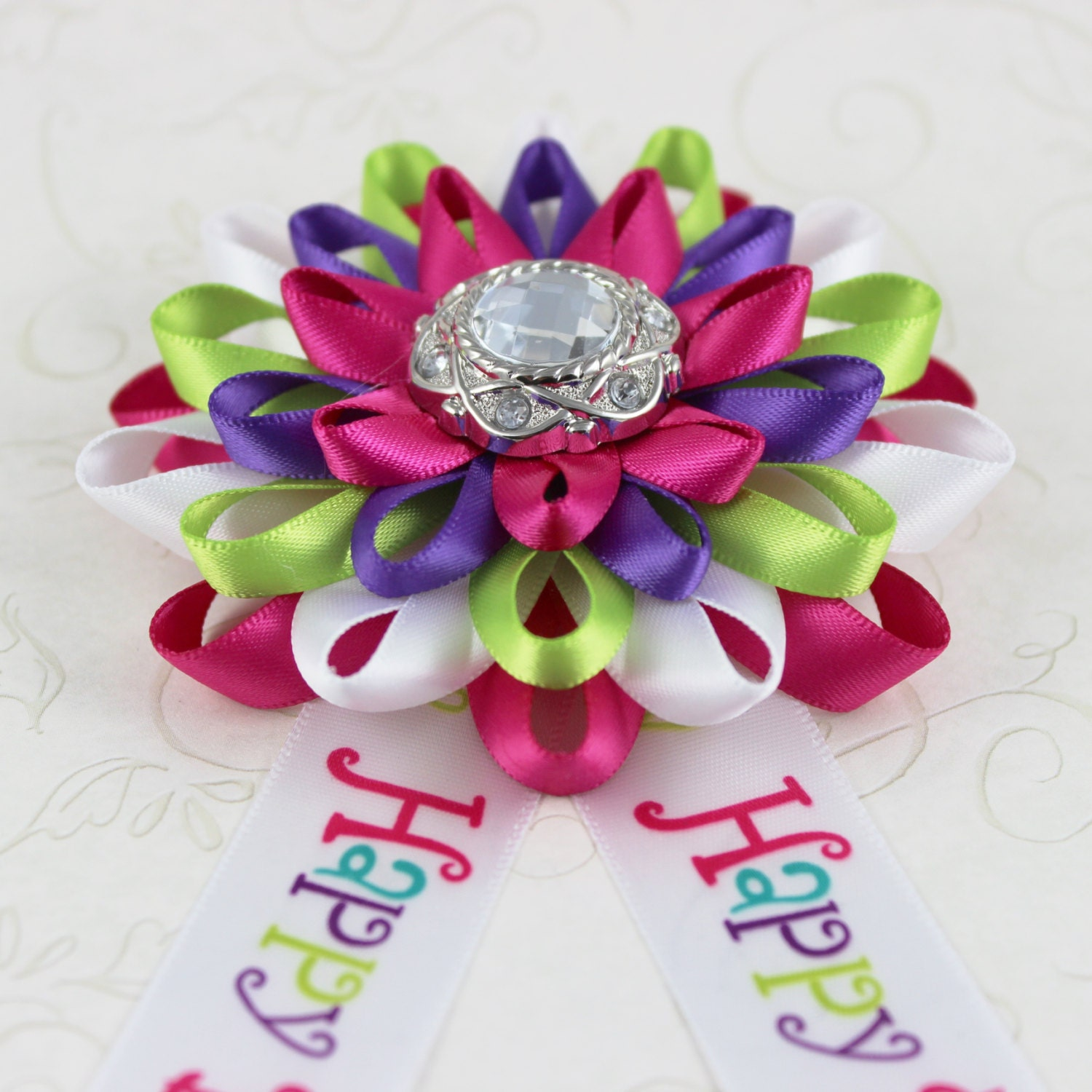 Birthday party decorations happy birthday corsage happy birthday birthday party decorations happy birthday corsage happy birthday ribbon pin adult birthday gift purple lime green colorful izmirmasajfo