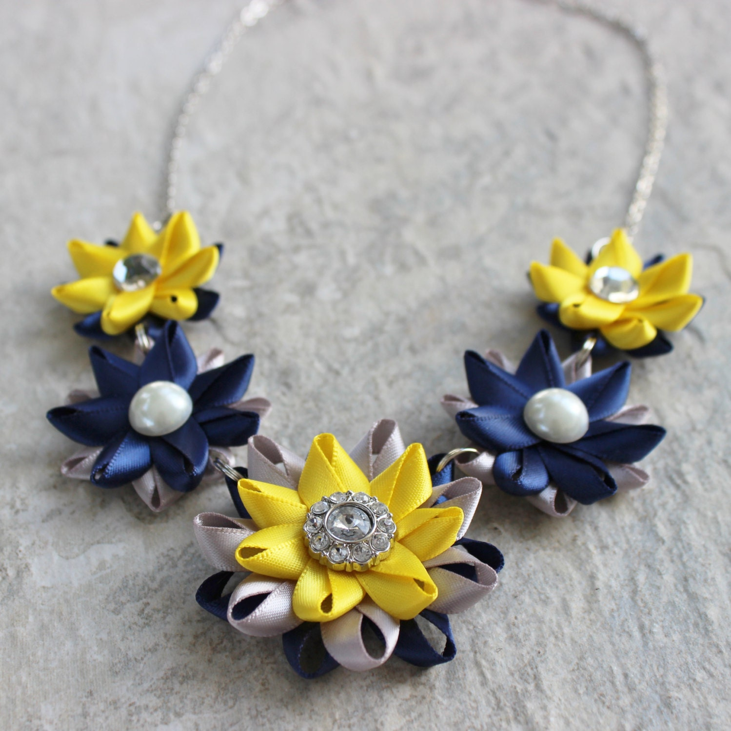 Navy Necklace Navy Blue Silver Yellow Necklace Unique Wedding