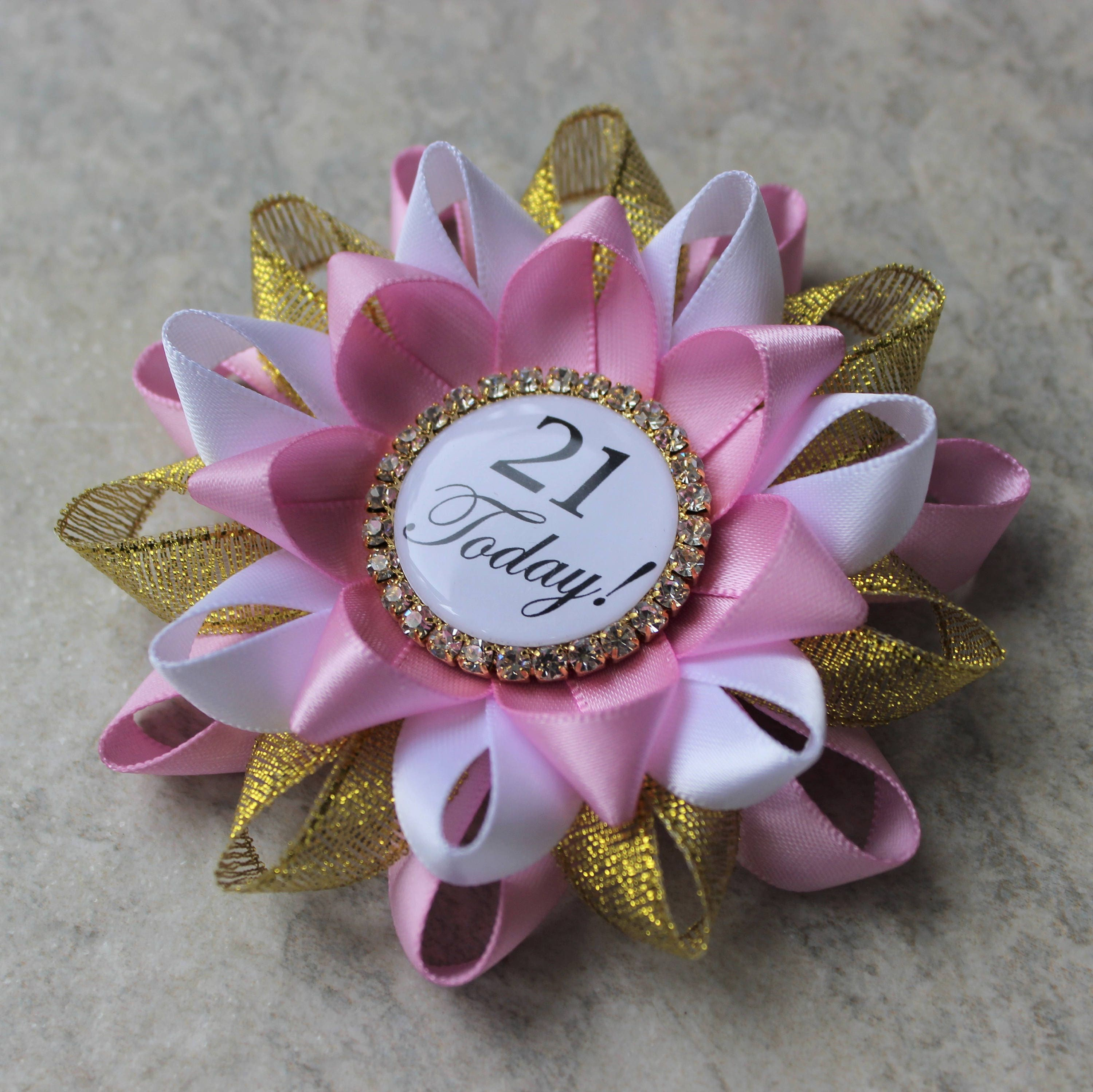 21st Birthday Pin Party Decorations Gift For Her Ideas Twenty First Bubblegum Gold White