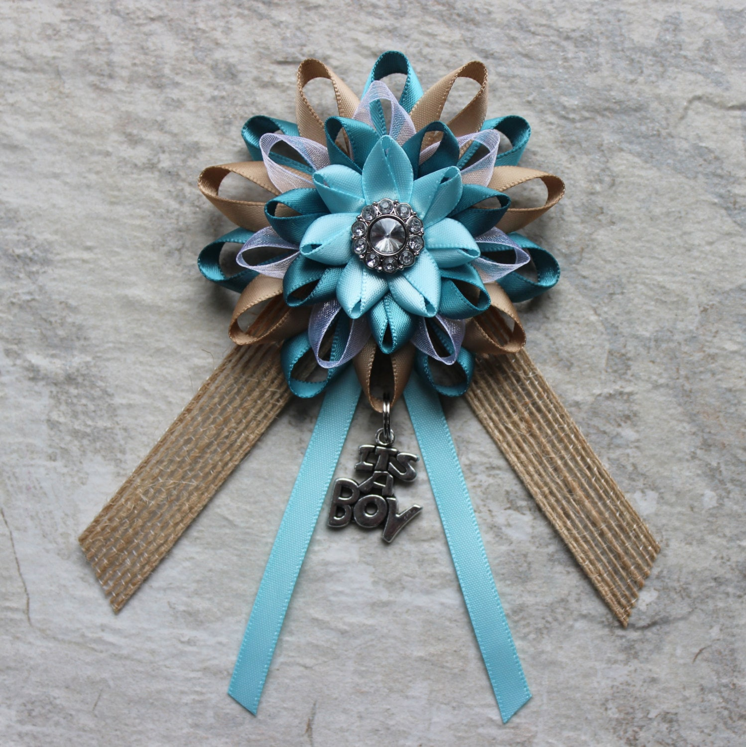 Rustic Baby Shower Decorations Boy Decor Blue Teal Burlap Pin Corsage