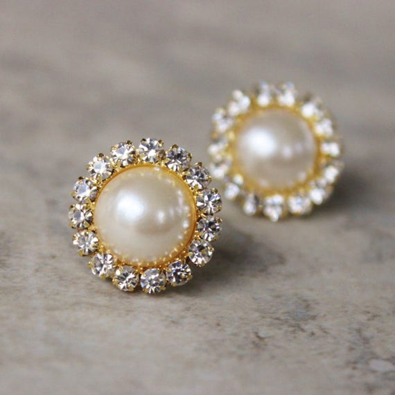 Gold Crystal Earrings Pearl and Gold Earrings Ivory Pearl Earring Set Ivory Pearl and Crystal Earrings Gold and Pearl Earrings
