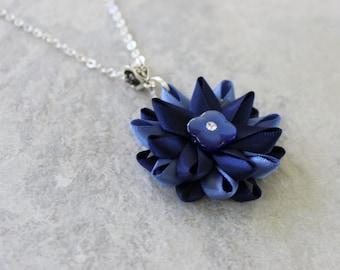Navy Blue Necklace, Navy Blue Flower Necklace, Navy Blue Pendant Necklace, Dark Blue Necklace, Navy Blue Bridesmaid Necklace, Pretty Pendant